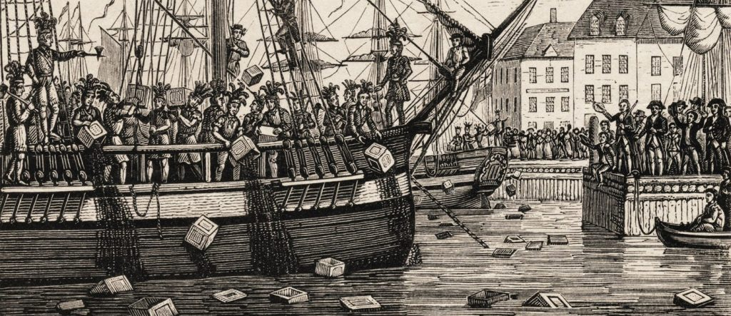 Boston Tea Party Scene: colonists throwing boxes of tea overboard a British ship. They did not want to have to pay taxes on the British tea.
