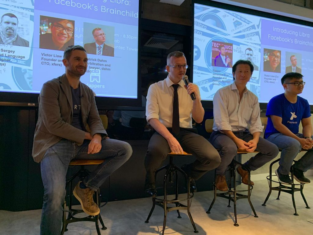 The moderator and panelists of The Dappers' event Introducing Libra: Facebook's brainchild, on 16 July 2019.